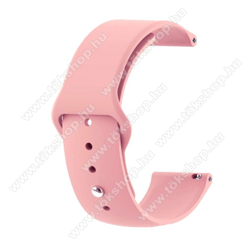 Okosóra szíj - RÓZSASZÍN - szilikon - 85mm + 95mm hosszú, 20mm széles - SAMSUNG Galaxy Watch 42mm / Xiaomi Amazfit GTS / HUAWEI Watch GT / SAMSUNG Gear S2 / HUAWEI Watch GT 2 42mm / Galaxy Watch Active / Active  2 / Galaxy Gear Sport