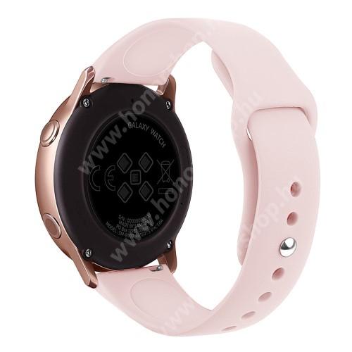 HUAWEI Watch GT 2 42mm Okosóra szíj - RÓZSASZÍN - szilikon - 95mm + 130mm hosszú, 20mm széles, 170mm-től 225mm-es méretű csuklóig ajánlott - SAMSUNG Galaxy Watch 42mm / Xiaomi Amazfit GTS / SAMSUNG Gear S2 / HUAWEI Watch GT 2 42mm / Galaxy Watch Active / Active 2