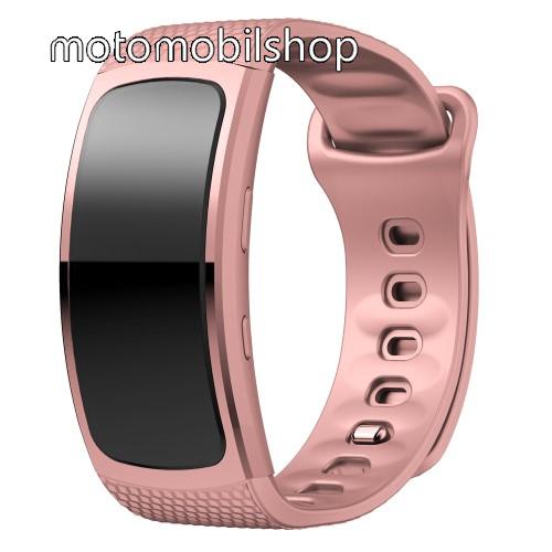 Okosóra szíj - RÓZSASZÍN - szilikon, S-es méret, 95mm+90mm hosszú, 126mm-től 175mm-es méretű csuklóig ajánlott - SAMSUNG Gear Fit 2 SM-R360 / Samsung Gear Fit 2 Pro SM-R365