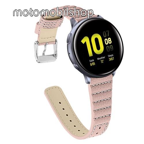 Okosóra szíj - RÓZSASZÍN - valódi bőr, 115+75mm hosszú, 20mm széles - SAMSUNG Galaxy Watch 42mm / Xiaomi Amazfit GTS / SAMSUNG Gear S2 / HUAWEI Watch GT 2 42mm / Galaxy Watch Active / Active 2