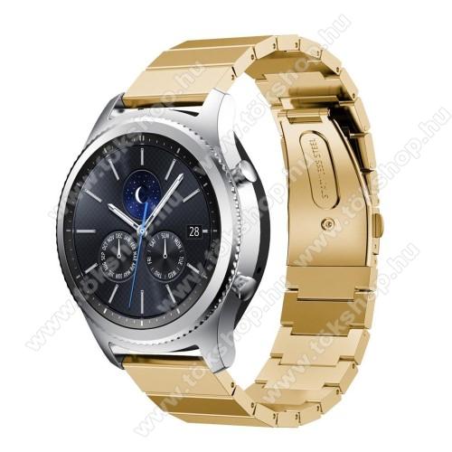 Okosóra szíj - rozsdamentes acél, - ARANY - 180mm hosszú, 22mm széles - SAMSUNG Galaxy Watch 46mm / SAMSUNG Gear S3 Classic / SAMSUNG Gear S3 Frontier