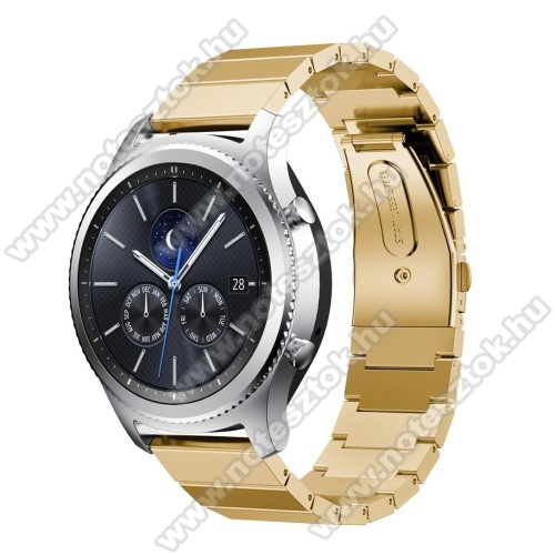 Xiaomi Mi Watch (FOR GLOBAL MARKET)Okosóra szíj - rozsdamentes acél, - ARANY - 180mm hosszú, 22mm széles - SAMSUNG Galaxy Watch 46mm / SAMSUNG Gear S3 Classic / SAMSUNG Gear S3 Frontier