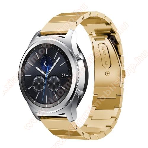 Xiaomi Amazfit 2Okosóra szíj - rozsdamentes acél, - ARANY - 180mm hosszú, 22mm széles - SAMSUNG Galaxy Watch 46mm / SAMSUNG Gear S3 Classic / SAMSUNG Gear S3 Frontier