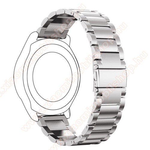 Xiaomi Amazfit Stratos 3Okosóra szíj - rozsdamentes acél, csatos - 180mm hosszú, 22mm széles - EZÜST - SAMSUNG Galaxy Watch 46mm / SAMSUNG Gear S3 Classic / SAMSUNG Gear S3 Frontier