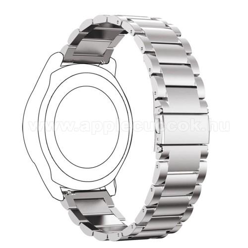 Okosóra szíj - rozsdamentes acél, csatos - 175mm hosszú, 22mm széles - EZÜST - SAMSUNG Galaxy Watch 46mm / SAMSUNG Gear S3 Classic / SAMSUNG Gear S3 Frontier