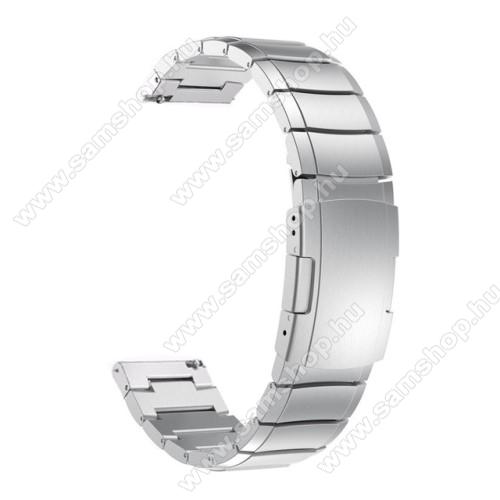 Okosóra szíj - rozsdamentes acél, csatos - 180mm hosszú, 22mm széles - EZÜST - SAMSUNG Galaxy Watch 46mm / SAMSUNG Gear S3 Classic / SAMSUNG Gear S3 Frontier