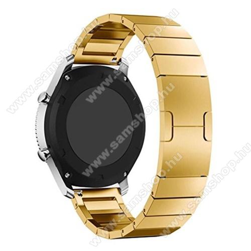 Okosóra szíj - rozsdamentes acél, csatos - ARANY - 22mm széles - SAMSUNG Galaxy Watch 46mm / SAMSUNG Gear S3 Classic / SAMSUNG Gear S3 Frontier