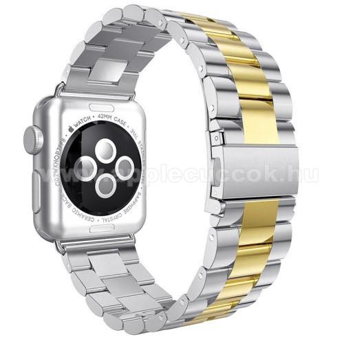 APPLE Watch Series 3 42mmOkosóra szíj - rozsdamentes acél, csatos - ARANY / EZÜST - Apple Watch 3/2/1 - 42mm