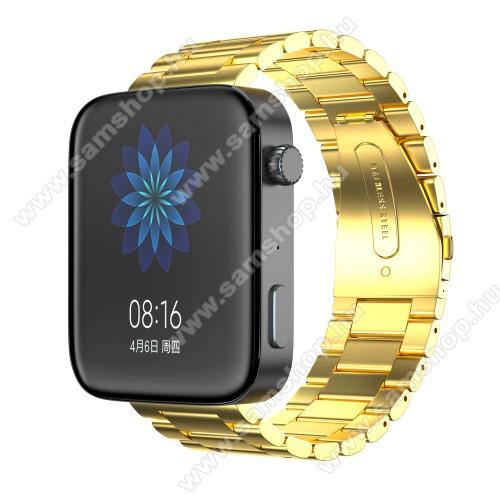 Okosóra szíj - rozsdamentes acél, csatos - ARANY - 175mm hosszú, 18mm széles, 135mm-208mm átmérőjű csuklóméretig - Xiaomi Mi Watch / Fossil Gen 4 / HUAWEI TalkBand B5