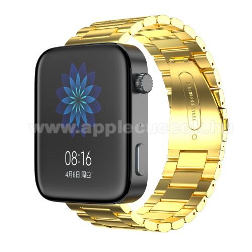 Okosóra szíj - rozsdamentes acél, csatos - ARANY - 175mm hosszú, 18mm széles, 135mm-208mm átmérőjű csuklóméretig - Xiaomi Mi Watch (For China Market) / Fossil Gen 4 / HUAWEI TalkBand B5