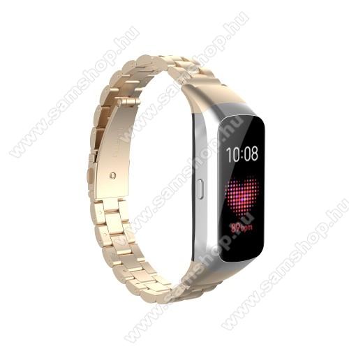 SAMSUNG Galaxy Fit (SM-R370)Okosóra szíj - rozsdamentes acél, csatos - ARANY - 186mm hosszú - SAMSUNG SM-R370 Galaxy Fit