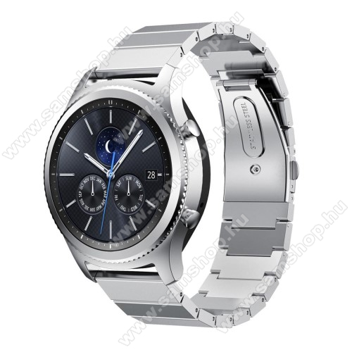 SAMSUNG Galaxy Watch3 45mm (SM-R845F)Okosóra szíj - rozsdamentes acél, csatos - EZÜST - 22mm széles - SAMSUNG Galaxy Watch 46mm / SAMSUNG Gear S3 Classic / SAMSUNG Gear S3 Frontier