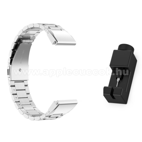 Okosóra szíj - rozsdamentes acél, csatos - EZÜST - 220mm hosszú - Garmin Fenix 5 / 5S / Forerunner 935 / Quatix 5 / Quatix 5 Sapphire / Approach S60