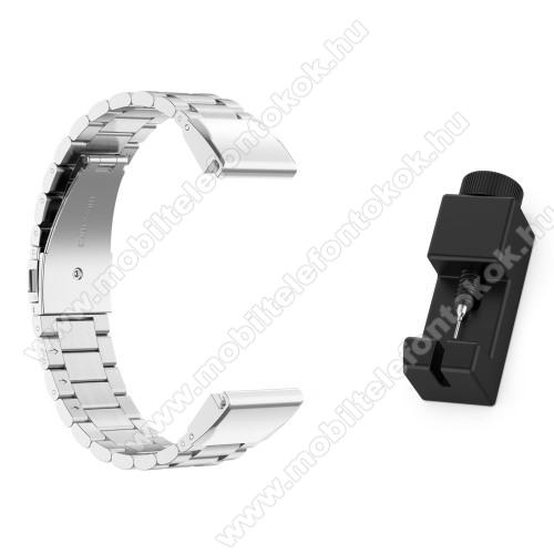 Okosóra szíj - rozsdamentes acél, csatos - EZÜST - 220mm hosszú - Garmin Fenix 5 / 5S / Forerunner 935 / Forerunner 945 / Quatix 5 / Quatix 5 Sapphire / Approach S60