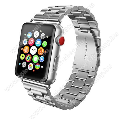Okosóra szíj - rozsdamentes acél, csatos - EZÜST - APPLE Watch Series 3/2/1 42mm / APPLE Watch Series 4 44mm / APPLE Watch Series 5 44mm