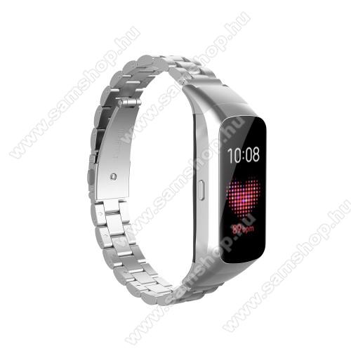 SAMSUNG Galaxy Fit (SM-R370)Okosóra szíj - rozsdamentes acél, csatos - EZÜST - 186mm hosszú - SAMSUNG SM-R370 Galaxy Fit