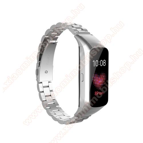 Okosóra szíj - rozsdamentes acél, csatos - EZÜST - 186mm hosszú - SAMSUNG SM-R370 Galaxy Fit