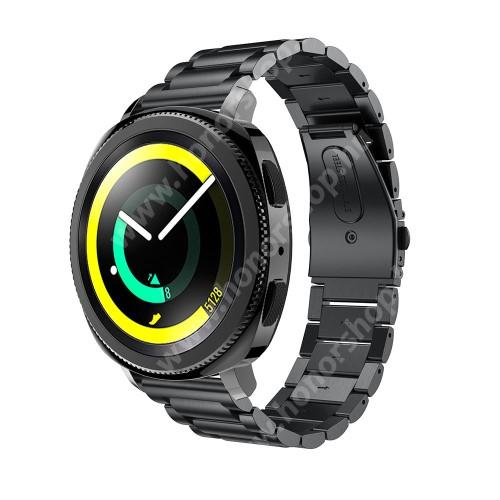 HUAWEI Honor MagicWatch 2 42mm Okosóra szíj - rozsdamentes acél, csatos - FEKETE - 205 mm-es csuklóig használható, 177mm hosszú, 20mm széles - SAMSUNG Galaxy Watch 42mm / Xiaomi Amazfit GTS / SAMSUNG Gear S2 / HUAWEI Watch GT 2 42mm / Galaxy Watch Active / Active 2
