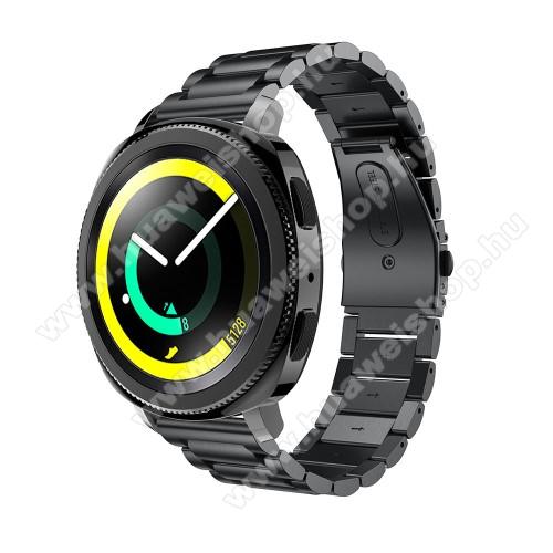 Okosóra szíj - rozsdamentes acél, csatos - FEKETE - 205 mm-es csuklóig használható, 177mm hosszú, 20mm széles - SAMSUNG Galaxy Watch 42mm / Xiaomi Amazfit GTS / HUAWEI Watch GT / SAMSUNG Gear S2 / HUAWEI Watch GT 2 42mm / Galaxy Watch Active / Active  2 /