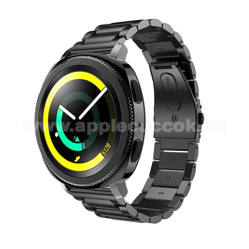 Okosóra szíj - rozsdamentes acél, csatos - FEKETE - 205 mm-es csuklóig használható, 177mm hosszú, 20mm széles - SAMSUNG Galaxy Watch 42mm / Xiaomi Amazfit GTS / HUAWEI Watch GT / SAMSUNG Gear S2 / HUAWEI Watch GT 2 42mm / Galaxy Watch Active / Active  2 /