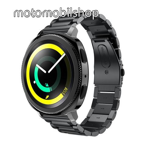 Okosóra szíj - rozsdamentes acél, csatos - FEKETE - 205 mm-es csuklóig használható, 177mm hosszú, 20mm széles - SAMSUNG Galaxy Watch 42mm / Xiaomi Amazfit GTS / SAMSUNG Gear S2 / HUAWEI Watch GT 2 42mm / Galaxy Watch Active / Active 2