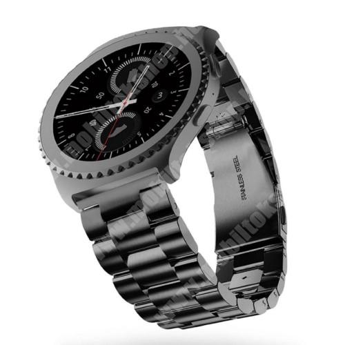 Okosóra szíj - rozsdamentes acél, csatos - FEKETE - 22mm széles - SAMSUNG Galaxy Watch 46mm / SAMSUNG Gear S3 Classic / SAMSUNG Gear S3 Frontier