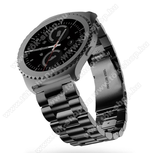 HUAWEI Honor MagicWatch 2 46mmOkosóra szíj - rozsdamentes acél, csatos - FEKETE - 22mm széles - SAMSUNG Galaxy Watch 46mm / SAMSUNG Gear S3 Classic / SAMSUNG Gear S3 Frontier