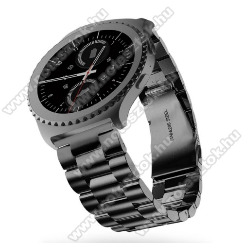 ZTE Watch GTOkosóra szíj - rozsdamentes acél, csatos - FEKETE - 22mm széles - SAMSUNG Galaxy Watch 46mm / SAMSUNG Gear S3 Classic / SAMSUNG Gear S3 Frontier