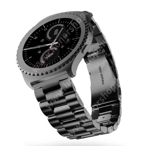 HUAWEI Honor MagicWatch 2 46mm Okosóra szíj - rozsdamentes acél, csatos - FEKETE - 22mm széles - SAMSUNG Galaxy Watch 46mm / SAMSUNG Gear S3 Classic / SAMSUNG Gear S3 Frontier
