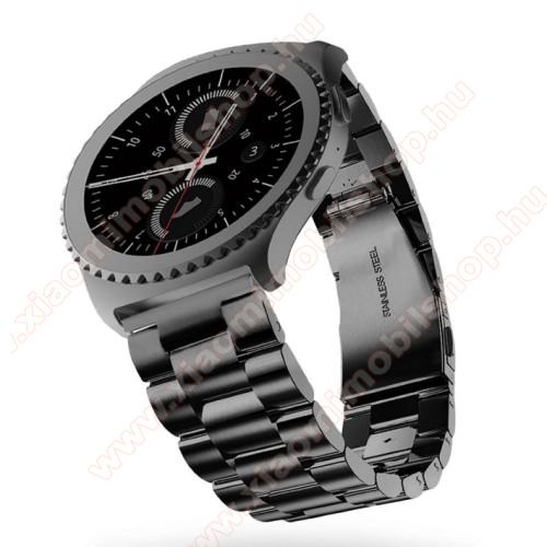 Xiaomi Amazfit 2Okosóra szíj - rozsdamentes acél, csatos - FEKETE - 22mm széles - SAMSUNG Galaxy Watch 46mm / SAMSUNG Gear S3 Classic / SAMSUNG Gear S3 Frontier