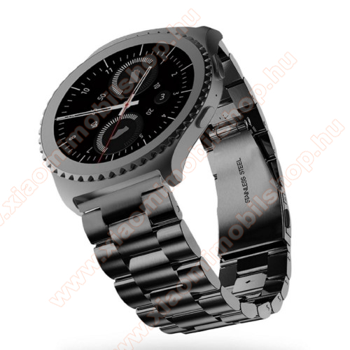 Xiaomi Amazfit Stratos 3Okosóra szíj - rozsdamentes acél, csatos - FEKETE - 22mm széles - SAMSUNG Galaxy Watch 46mm / SAMSUNG Gear S3 Classic / SAMSUNG Gear S3 Frontier