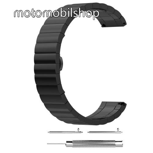Okosóra szíj - rozsdamentes acél, csatos - FEKETE - 22mm széles, 1 pár teleszkóppal és szerszámmal - SAMSUNG Galaxy Watch 46mm / SAMSUNG Gear S3 Classic / SAMSUNG Gear S3 Frontier