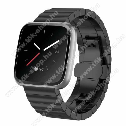Okosóra szíj - rozsdamentes acél, csatos - FEKETE - 175 mm hosszú, 23 mm széles, 1 pár teleszkóppal és szerszámmal - Fitbit Versa / Fitbit Versa Lite / Fitbit Versa 2