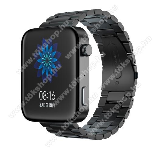Okosóra szíj - rozsdamentes acél, csatos - FEKETE - 175mm hosszú, 18mm széles, 135mm-208mm átmérőjű csuklóméretig - Xiaomi Mi Watch (For China Market) / Fossil Gen 4 / HUAWEI TalkBand B5