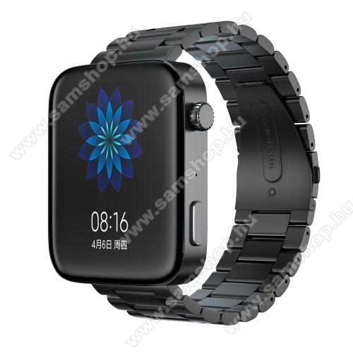 Okosóra szíj - rozsdamentes acél, csatos - FEKETE - 175mm hosszú, 18mm széles, 135mm-208mm átmérőjű csuklóméretig - Xiaomi Mi Watch / Fossil Gen 4 / HUAWEI TalkBand B5