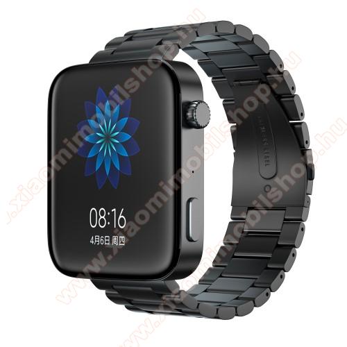 Xiaomi Mi WatchOkosóra szíj - rozsdamentes acél, csatos - FEKETE - 175mm hosszú, 18mm széles, 135mm-208mm átmérőjű csuklóméretig - Xiaomi Mi Watch / Fossil Gen 4 / HUAWEI TalkBand B5