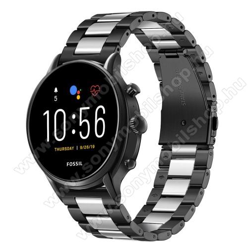 Okosóra szíj - rozsdamentes acél, csatos - FEKETE / EZÜST - 215mm hosszú, 22mm széles - SAMSUNG Galaxy Watch 46mm / SAMSUNG Gear S3 Classic / Gear S3 Frontier / Honor MagicWatch 2 46mm