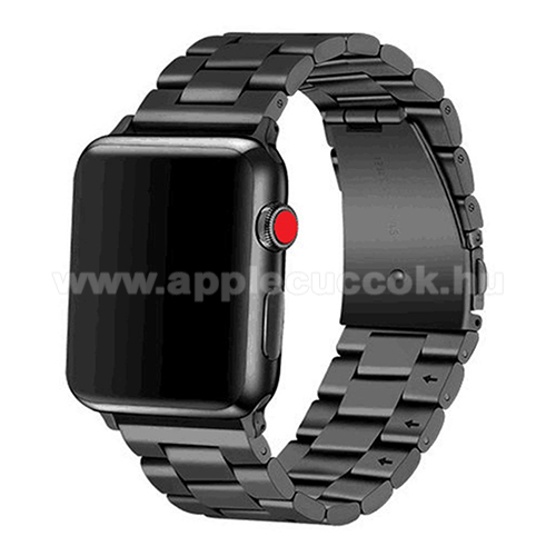 APPLE Watch Series 6 44mm Okosóra szíj - rozsdamentes acél, csatos - FEKETE - APPLE Watch Series 3/2/1 42mm / APPLE Watch Series 4 44mm / APPLE Watch Series 5 44mm