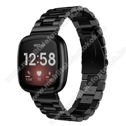 Fitbit Versa 3Okosóra szíj - rozsdamentes acél, csatos - FEKETE - 185mm hosszú, 135-235mm átmérőjű csuklóméretig ajánlott - Fitbit Versa 3 / Fitbit Sense