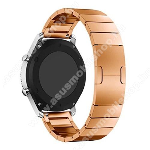 Okosóra szíj - rozsdamentes acél, csatos - ROSE GOLD - 22mm széles - SAMSUNG Galaxy Watch 46mm / SAMSUNG Gear S3 Classic / SAMSUNG Gear S3 Frontier