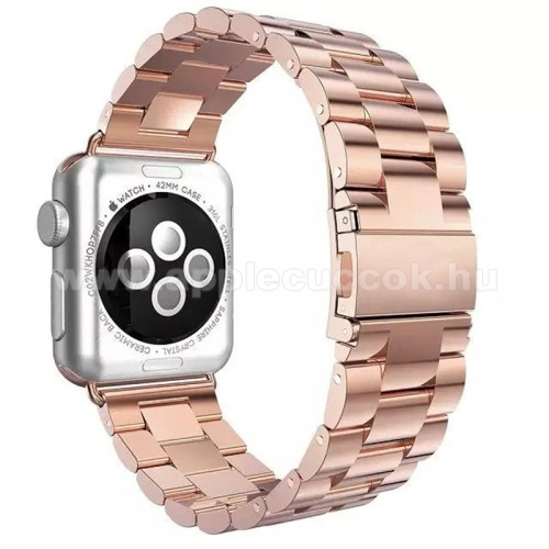 APPLE Watch Series 3 42mm Okosóra szíj - rozsdamentes acél, csatos - ROSE GOLD - Apple Watch 3/2/1 - 42mm
