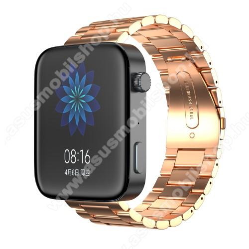 Okosóra szíj - rozsdamentes acél, csatos - ROSE GOLD - 175mm hosszú, 18mm széles, 135mm-208mm átmérőjű csuklóméretig - Xiaomi Mi Watch