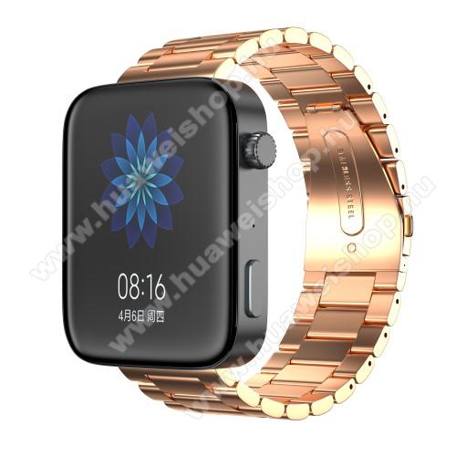 HUAWEI TalkBand B5Okosóra szíj - rozsdamentes acél, csatos - ROSE GOLD - 175mm hosszú, 18mm széles, 135mm-208mm átmérőjű csuklóméretig - Xiaomi Mi Watch / Fossil Gen 4 / HUAWEI TalkBand B5