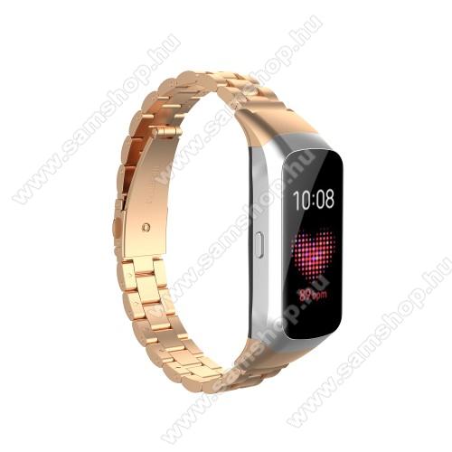 SAMSUNG Galaxy Fit (SM-R370)Okosóra szíj - rozsdamentes acél, csatos - ROSE GOLD - 186mm hosszú - SAMSUNG SM-R370 Galaxy Fit