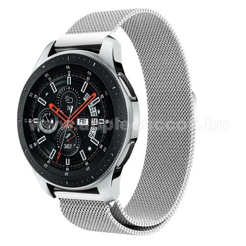 Okos�ra sz�j - rozsdamentes ac�l, m�gneses - EZ�ST - 234 mm hossz�, 20 mm sz�les, max 220mm-es csukl�ra - SAMSUNG Galaxy Watch 46mm / SAMSUNG Gear S3 Classic / SAMSUNG Gear S3 Frontier
