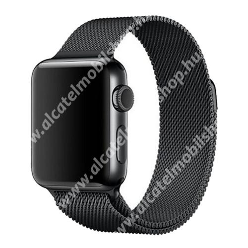 Okosóra szíj - rozsdamentes acél, mágneses - FEKETE - Apple Watch Series 3/2/1 42mm / APPLE Watch Series 4 44mm
