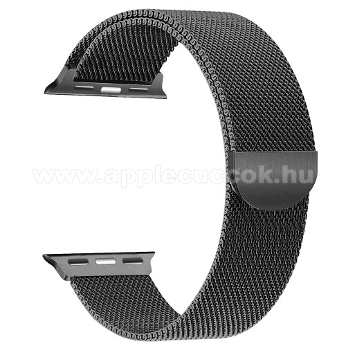 APPLE Watch Series 2 42mm Okosóra szíj - rozsdamentes acél, mágneses - FEKETE - APPLE Watch Series 3/2/1 42mm / APPLE Watch Series 4 44mm