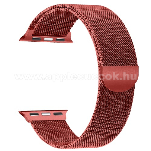 APPLE Watch Series 4 44mm Okosóra szíj - rozsdamentes acél, mágneses - PIROS - APPLE Watch Series 3/2/1 42mm / APPLE Watch Series 4 44mm