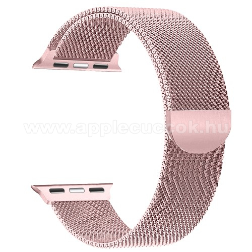 APPLE Watch Series 2 42mm Okosóra szíj - rozsdamentes acél, mágneses - RÓZSASZÍN - APPLE Watch Series 3/2/1 42mm / APPLE Watch Series 4 44mm