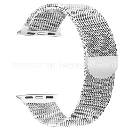 APPLE Watch Series 4 44mm Okosóra szíj - rozsdamentes acél, mágneses - EZÜST - APPLE Watch Series 3/2/1 42mm / APPLE Watch Series 4 44mm